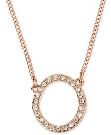 Kenneth Cole New York Rose Gold-Tone Pavé Circle Pendant Necklace
