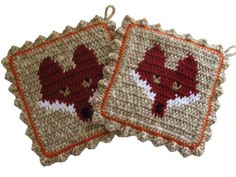 Red Fox Pot Holders. Crochet and knit animal by hooknsaw on Etsy