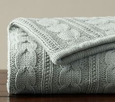 Cozy Cable Knit Throw, 50 x 60 in Marine color (pottery barn) I NEED THIS!!!