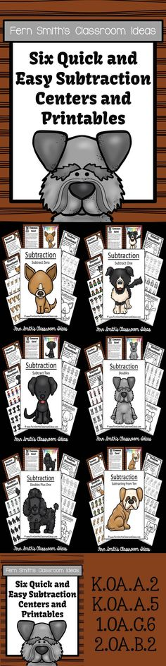 ** 50% Off for the First Two Days! ** Six Subtraction Quick and Easy Centers and Printables - Puppy Themed #TPT $Paid