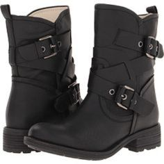 Guess 'Grier' Booties in Black Black Guess Combat boots. Excellent condition. Not worn much. Outside double buckles. About 1.5 inch heel. Zipper inside. Pull up tabs on back. Don't be shy, make an offer. :) Guess Shoes Combat & Moto Boots