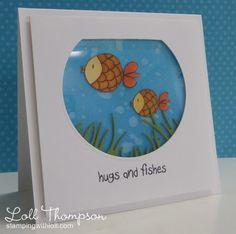 """""""Hugs & Fishes"""" fish bowl greeting card"""