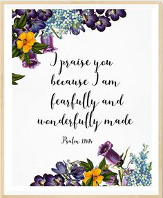 Fearfully And Wonderfully Made Psalm 139:14 Girl Nursery        bibleverse# bibleverseprint #christianart #christiandecor #instantdownload #HomeDecor #Printable #WallArt #PrintableArt  bibleverseprint #christianart #scriptureprint #scripturedecor #scriptureposter #christiandeco#