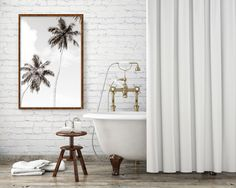 Palm Trees No. 1 Oversized Black and White Fine Art Photography Print by Cattie Coyle Photography