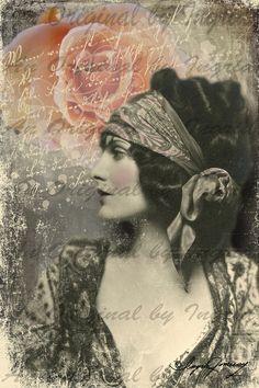 Gypsy Beauty Digital Collage Greeting Card