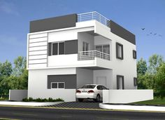 Duplex House Design, House Front Design, Front Elevation Designs, House Elevation, Independent House, House Map, Family House Plans, False Ceiling Design, Sims House