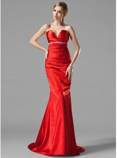 Mermaid V-neck Sweep Train Charmeuse Evening Dress With Ruffle Beading (017002534)