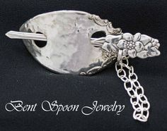 Silverware Jewelry, Ornate Floral Vintage Recycled  Spoon Shawl Pin / Barrette...Original Design, Spoon Jewelry. via Etsy.