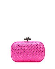 Woven Metallic Knot Clutch Bag, Hot Pink by Bottega Veneta at Neiman Marcus.