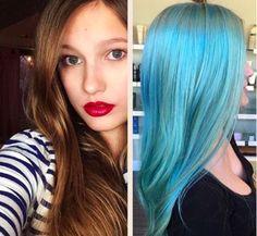 E, por último, este azul: | 19 antes e depois que dão vontade de correr para o salão e pintar o cabelo