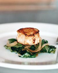Seared Scallops with Braised Collard Greens and Cider Sauce Recipe from Food & Wine