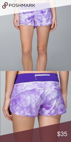 Lululemon Purple Tie Dye Speed Shorts like new! only worn 1 time! great condition and super cute! just not my size! lululemon athletica Shorts