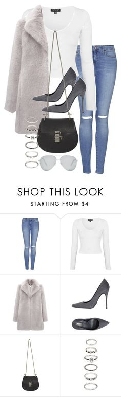 """""""Untitled #1472"""" by tyra482 ❤ liked on Polyvore featuring Topshop, Whistles, Schutz, Chloé, Forever 21 and Victoria Beckham"""