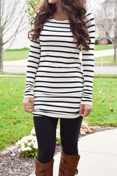 Stripes are so popular this season! This awesome striped tunic is so soft and comfortable. It will definitely become a staple in your wardrobe. This long tunic with side ruching on the sleeves and bottom of the shirt will be your new favorite top! It is high quality, so soft and SO VERY comfy (not to mention it looks great for fall!) It is long enough to wear with leggings so you'll be ultra comfortable and looking chic at the same time!