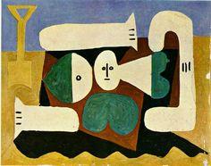 Pablo Picasso, Nu sur la plage et pelle, 1960