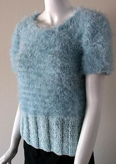 Free Knitting Pattern: Fizz-Stardust, Whisper & Deco-Ribbon Knit Pullover from Crystal Palace Yarns