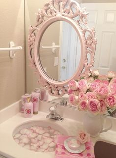 Pink roses Shabby Cottage Chic room decor Romantic Home bathroom- would be cute for a guest bathroom