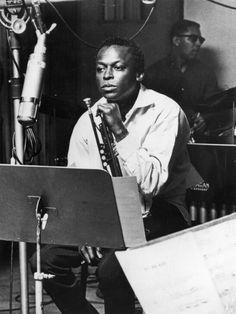 Miles Davis with his trumpet and a Telefunken U47, Circa 1958