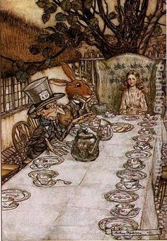 Arthur Rackham Alice in Wonderland A Mad Tea Party painting | framed paintings for sale