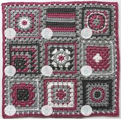 """""""Crochet meets Patchwork"""" Afghan - Fuchsia Granny Square Pattern Round-up"""