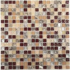 Brown, Beige Brown 5/8'' x 5/8'' Glass and Stone Glossy/Frosted & Iridescent Tile