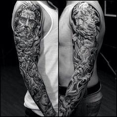 Tattoo by Jun Cha at Lowrider Tattoo Studios in Fountain Valley, CA Mehr Payasa Tattoo, God Tattoos, Future Tattoos, Sexy Tattoos, Tattoos For Guys, Tattos, Neptune Tattoo, Poseidon Tattoo, Zeus Tattoo
