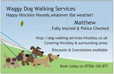 Waggy Dog Walking Services Hinckley UK - Business Card/Contact Details