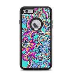 The Bright WaterColor Floral Apple iPhone 6 Plus Otterbox Defender Case Skin Set