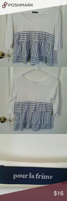 Blue and White Striped Top with Ruffles Stretchy and soft! Has 3/4 sleeves. Bought in Japan! pour la frime Tops