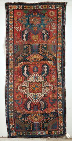 Antique Kasim Ushak Karabagh Azerbaijan Caucasian Long Rug, dated (small areas of wear, several small creases, selvage damage), 9 ft. x 4 ft. Persian Carpet, Persian Rug, Next Rugs, Iranian Rugs, Art Chinois, Art Japonais, Long Rug, Afghan Rugs, Graphic