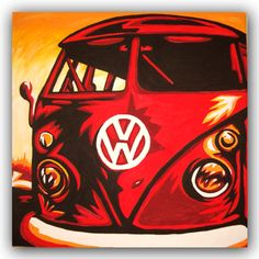 Red Volkswagen Camper Bus VW Pop Art Painting VW Surf Art Original Handpainted Bespoke Canvas Art from The Kludoman Surf Co.