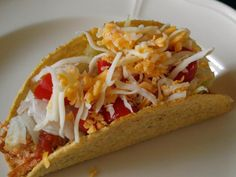 3 ingredient crockpot chicken tacos...easy meal....my family eats this often and loves it.  Plenty of leftovers for yummy lunches.  It's what's for dinner