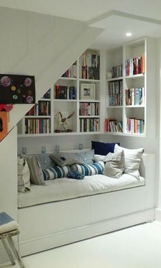 Kuschelecke children& room - create a personal corner for the child . - Kuschelecke children& room – create a personal corner for the child Kuschelecke chi - Basement Storage, Basement Remodeling, Remodeling Ideas, Cozy Basement, Staircase Storage, Basement Ceilings, Basement Finishing, Basement Flooring, Stair Shelves