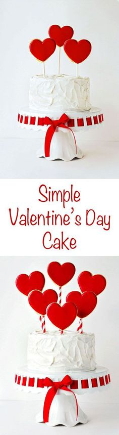 Simple Valentine's Cake with Cookie Pops by http://thebearfootbaker.com