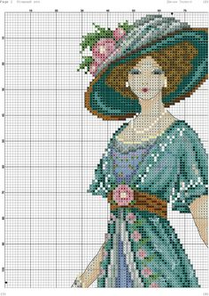 A beautiful lady 1 Cross Stitch Designs, Cross Stitch Patterns, Cross Stitching, Cross Stitch Embroidery, Broderie Simple, Little Stitch, Victorian Women, Pattern Fashion, Hats For Women