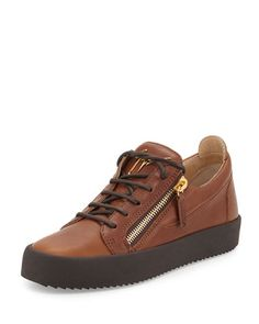 Men\'s Leather Low-Top Sneaker, Light Brown by Giuseppe Zanotti at Neiman Marcus.