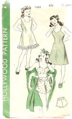 1940s Girls Bra Panty and Slip Pattern Hollywood by CherryCorners,