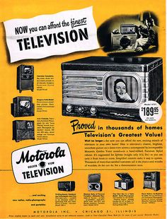 DCMI Type: Still Image. Company: Motorola Inc. Date: Subject: Motorola, Television. Vintage Ads, Vintage Photos, Color Television, Good Housekeeping, Canning, History, Architecture, Hearth, Front Row