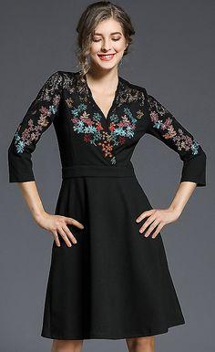 Elegant V-Neck 3/4 Sleeve Embroidery Skater Dress