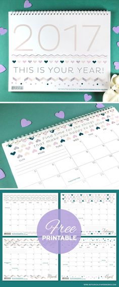 Keep track of life's special moments and feel inspired by the motivational quotes with this free printable calendar. See more designs and download your favorite 2017 calendar on our blog!
