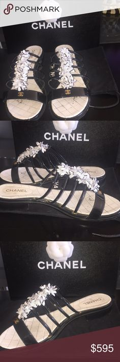 """HOST PICK🌟RARE  CHANEL FLATS Very rare, I bought it in Europe on my Baltic cruise. Authentic black patent with material black & white floral & gold CC sign in the front. Wore it twice, in very good condition. Heels 1.5"""" approx CHANEL Shoes Flats & Loafers"""