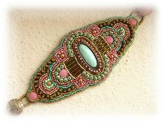 Bead Embroidered Bracelet Bead embroidery OOAK Gold by budaikata,