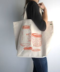 Canvas Tote Bag - Screen Printed Recycled Cotton Grocery Bag - Large Canvas Shopper Tote - Mason Jar - Home Canning - Reusable and Washable Paper Grocery Bags, Alternative To Plastic Bags, Shopper Tote, Textiles, Large Bags, Large Tote, Cotton Bag, Canvas Tote Bags, Canvas Totes