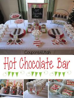 Hot Chocolate Bar, a fun and frugal party idea perfect Christmas or anytime this winter! (Check out the chocolate spoons with flavored candy to stir into your cocoa.) Coupons4Utah