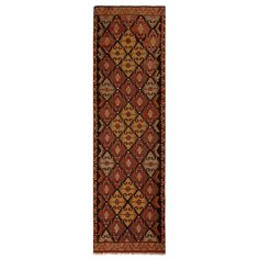 1stdibs Turkish Rug - Vintage Mut Burgundy Brown Blue Golden-Yellow Accent Turkish Kilim Wool