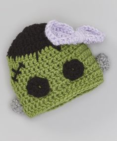 Green & Black Frankenstein Beanie #crochet #inspiration
