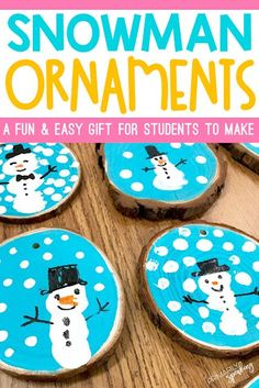 Wood Slice Snowman Ornaments {Tutorial} I love this holiday gift idea! Thumbprint snowman ornaments are a great gift idea for students to give to their families. Preschool Christmas, Christmas Crafts For Kids, Christmas Activities, Christmas Fun, Holiday Crafts, Holiday Fun, Christmas Ornaments For Students, Holiday Ideas, Gifts From Students To Parents