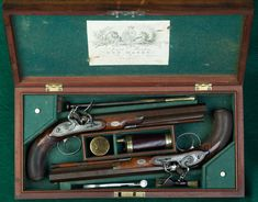 These Manton dueling pistols were built in 1814; the archetype of the English duelling pistol at its peak. Listed by number in W. Keith Neal and D. H. L. Back The Mantons: Gunmakers, London, 1966 p.254. According to Neal & Black, these duelers were originally owned by General, Sir Martin Hunter, the last surviving British officer to have fought at the battles of Lexington and Concord.
