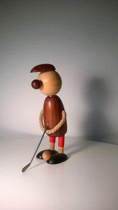 Danish Wood Golfer Figurine by Phoebesatticseattle on Etsy