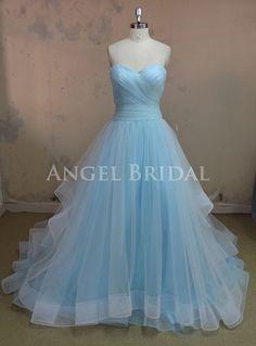 A-Line Evening Dress,Sky Blue Evening Dress,Tulle Evening Dress,Tulle Prom Dress on Etsy, $239.00